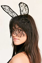 Urban Outfitters Lace Bunny Ear Veil Black