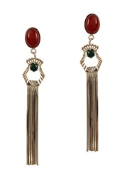 Iosselliani Anubian Agate 10Kt Gold Plated Earrings Red