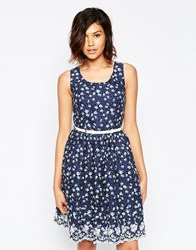 Yumi Spot Floral Dress With Embroidered Hem Blue