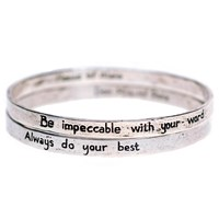 House Of Alaia The Four Agreements Reminder Bangle Set Oxidized Sterling Silver