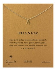 Dogeared Gold Dipped Thanks Wishbone Necklace