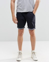 Brave Soul Chino Contrast Turn Up Shorts Navy