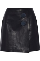 Adam By Adam Lippes Leather Mini Wrap Skirt Blue