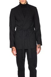 Ann Demeulemeester Double Breasted Belted Jacket In Black