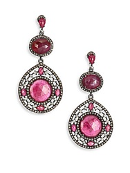 Bavna Multicolor Sapphire Champagne Diamond And Sterling Silver Teardrop Earrings Red