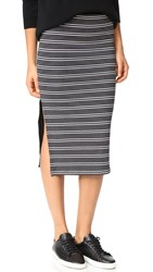 Atm Anthony Thomas Melillo Engineered Striped Rib Skirt Black White Stripe