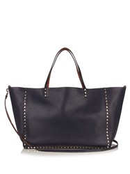 Valentino Rockstud Double Reversible Leather Tote Navy Multi
