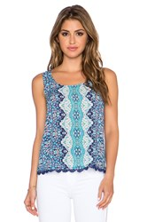 Gypsy 05 Printed Lace Up Back Tank Blue