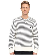 Nautica Long Sleeve Striped Front Crew Marshmallo Men's Long Sleeve Pullover Multi