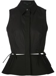 Alexander Wang Sleeveless Peplum Blouse Black