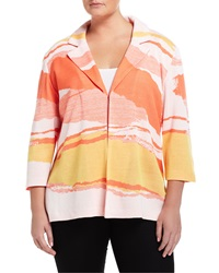 Ming Wang Plus Zebra Print Jacquard 3 4 Sleeve Jacket Tangerine Yellow