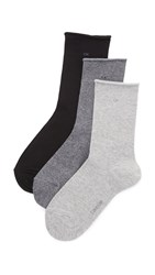 Calvin Klein Underwear Roll Top Sock Three Pack Salt And Pepper Grey Black