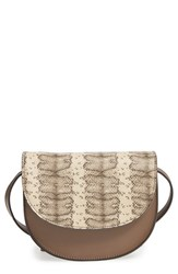 Street Level Contrast Flap Faux Leather Crossbody Bag Brown Taupe Snake