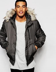New Look Bomber Jacket With Faux Fur Lined Hood Charcoal