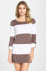 Tommy Bahama Bold Stripe Beach Sweater Taupe White