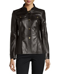 Lafayette 148 New York Leather Snap Front Military Jacket Espresso