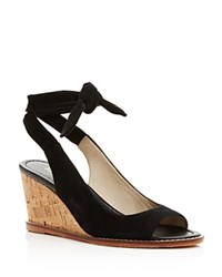 Bettye Muller Playlist Ankle Tie Wedge Sandals Black