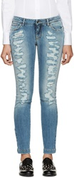 Dolce And Gabbana Blue Distressed Skinny Jeans