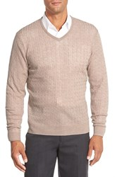 Men's Big And Tall John W. Nordstrom Cable Merino Wool V Neck Sweater Tan Nantucket