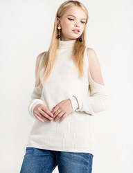 Pixie Market Cut Out Shoulder Mock Neck Sweater