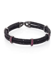 Stinghd Ruby Blackened Silver And Stingray Wrap Bracelet