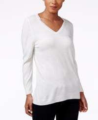 Karen Scott V Neck Sweater Only At Macy's Luxsoft White