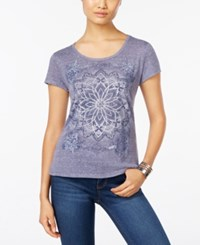 Styleandco. Style Co. Petite Medallion Mirage Graphic T Shirt Only At Macy's Dusty Blue