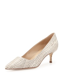 Manolo Blahnik Bb Snakeskin 50Mm Pump White Gray