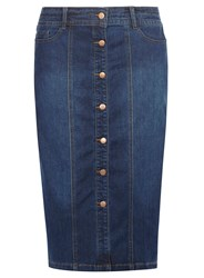 Evans Button Through Denim Midi Skirt Blue