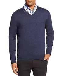 Bloomingdale's The Men's Store At Merino Wool V Neck Sweater Steel Blue