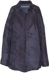 Raquel Allegra Cutout Printed Silk Chiffon Blouse Midnight Blue