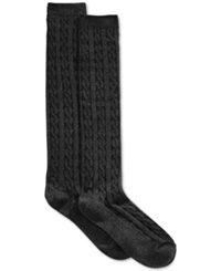 Charter Club Women's Cable Knit Knee Socks Only At Macy's Black