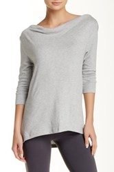 Beyond Yoga Crossed Cowl Pullover Gray