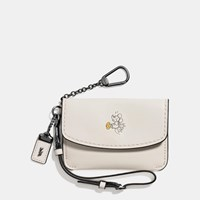 Coach Mickey Envelope Key Pouch In Glovetanned Leather Dark Gunmetal Chalk