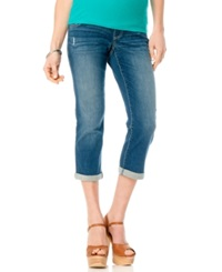 Motherhood Maternity Distressed Cropped Jeans Light Wash