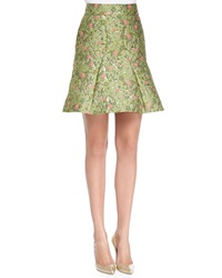 Zac Posen Floral Jacquard Fit And Flare Skirt Wisley