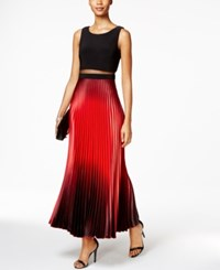 Betsy And Adam Petite Illusion 2 Pc. Ombre Gown Black Red