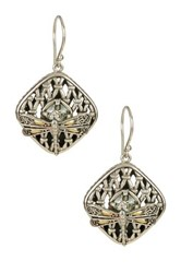 Phillip Gavriel 18K Yellow Gold And Oxidized Sterling Silver Green Amethyst Accented Dragonfly Square Drop Earrings Multi