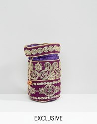 Reclaimed Vintage Beaded Pouch Bag Purple