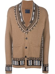 Laneus Geometric Intarsia Cardigan Nude And Neutrals