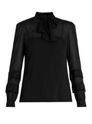 Red Valentino Tie Neck Silk Blend Chiffon Blouse Black