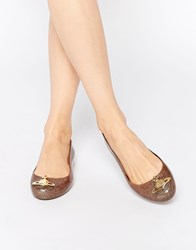 Vivienne Westwood For Melissa Gold Glitter Space Orb Flat Shoes Goldorb