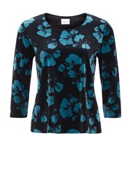 Eastex Petal Print Velvet Top Multi Coloured