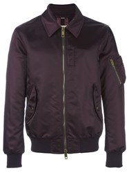 Burberry Collar Detail Bomber Jacket Red