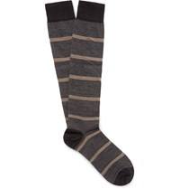 Marcoliani Striped Merino Wool Blend Over The Calf Socks Gray