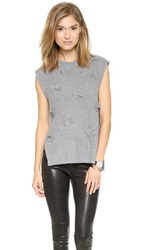 J.O.A. Fuzzy Vest Pullover With Ribbon Detail Grey