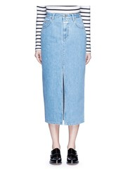 Closed 'Clara' Front Slit Denim Skirt Blue