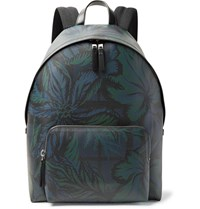 Burberry Leather Trimmed Printed Faux Leather Backpack Navy