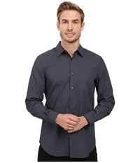 Perry Ellis Regualr Fit Exclusive Mini Square Print Shirt Ink Men's Long Sleeve Button Up Navy