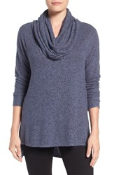 Gibson Women's Convertible Neckline Cozy Fleece Tunic Navy Heather Grey